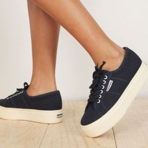 Superga Navy Blue Platform Sneakers